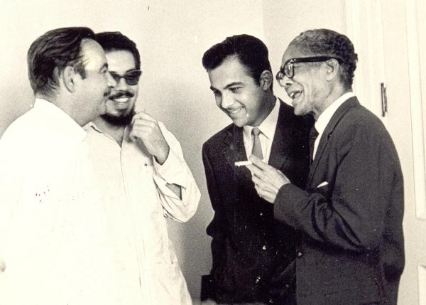 De izquierda a derecha, Eliseo Diego, Manuel Díaz Martínez, Armando Álvarez Bravo y Regino Pedroso. (Archivo MDM.)