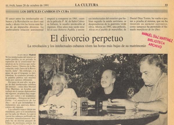 Pablo Armando Fernández, a la izquierda de la imagen, acompañado por dos intelexctuales cubanos, Reynaldo González, en el centro, y Lisandro Otero.