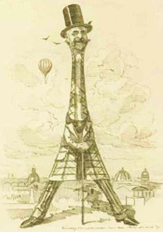 Gustave Eiffel. Caricatura de la época.