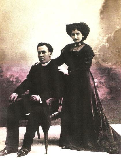 En Soria: Antonio Machado y Leonor, recién casados.