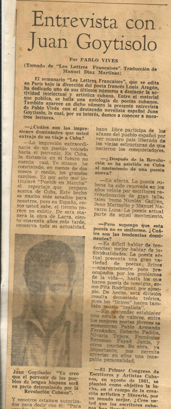 Juan Goytisolo entrevista foto